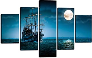 """Wall Art Decor Picture for Living Room Seascape Canvas Painting Multi Panels Pirate Ship Flying Dutchman Frigate Full Moon Poster Modern Blue Wooden Artwork Home Decoration House Present (60""""Wx40""""H)"""