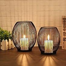 Uonlytech Castiçal de metal pequeno, vazado, estilo marroquino, pendurado, lanterna, suporte para vela para decoração vint...