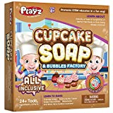 Playz Cupcake Soap & Bubbles DIY Science Kit - Fun STEM Gift for Age 8, 9, 10, 11, 12 Year Old Girls and Boys - Educational Arts and Crafts for Kids with 24+ Tools to Make Dessert Soaps You Can Use