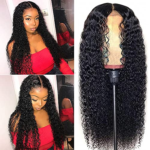 Lace Front Wigs Human Hair Curly Wave (18Inch) 13x4 Curly Lace Frontal Wig Human Hair Pre Plucked with Baby Hair Brazilian Wet and Wavy HD Lace Front Wig for Women 150% Density Natural Black Color