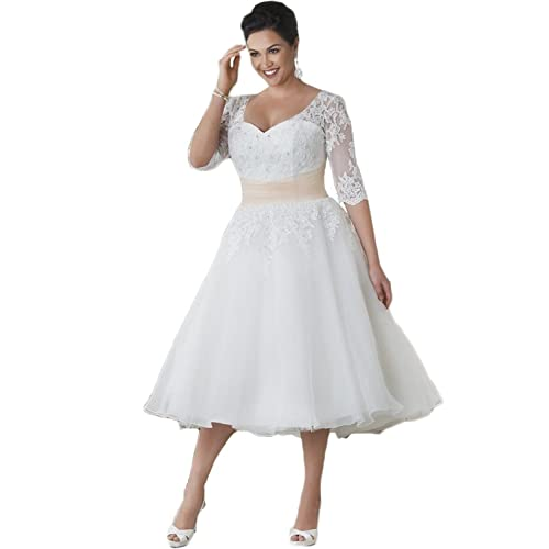 Plus Size Tea Length Wedding Dress: Amazon.com
