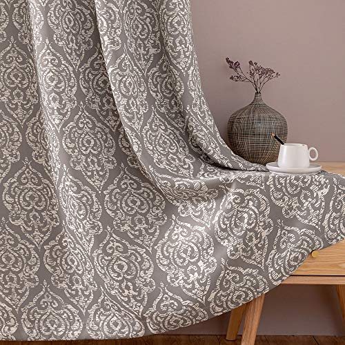 """jinchan Blackout Curtains Damask Design Pattern Living Room Dining Bedroom Classic Window Curtains Room Darkening Thermal Insulated Drapes Grommet Top 2 Panels 95"""" L Grey"""