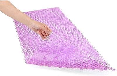 Antideslizante estera de baño Alfombra de baño antideslizante Alfombrilla de ducha antibacteriana, 88 cm * 40 cm, Ventosa de gran alcance con agarre, Lavable a máquina, Libre de BPA, Alfombra del piso