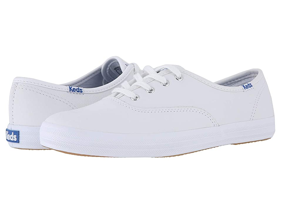 Retro Vintage Flats and Low Heel Shoes Keds Champion-Leather CVO White Leather Womens Lace up casual Shoes $55.00 AT vintagedancer.com