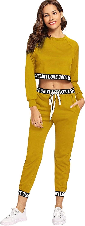 SweatyRocks Women's 2 Pieces Outfits Crop Sweatshirt and Long Pants Tracksuits Set Sportwear