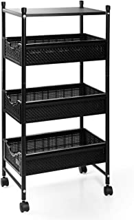 LHS 4 Tier Rolling Storage Utility Cart with Wheels, On Sink Cabinet Organizer Cart with Sliding Storage Drawer, Plastic D...