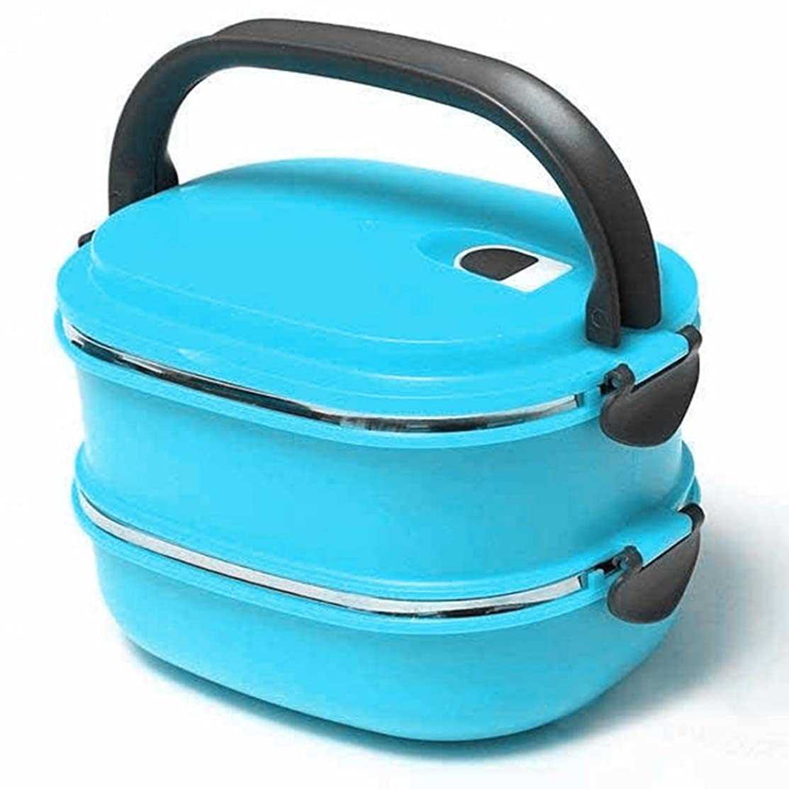 Stainless Steel Insulated Bento Lunch Box Leak-proof Food Container Storage Box for Adults and Kids size 2 Layer (Blue)