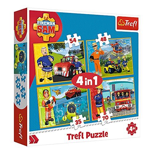 Trefl, Puzzle, Feuerwehrmann Sam als Retter, von 35 bis 70 Teilen, 4 Sets, für Kinder ab 4 Jahren