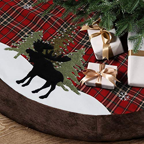 HAUMENLY Classical Check Christmas Tree Skirt with Rustic Black Reindeer Embroidery, Brown Fax Fur Trim Border, Xmas Holiday Decoration - 48 Inches