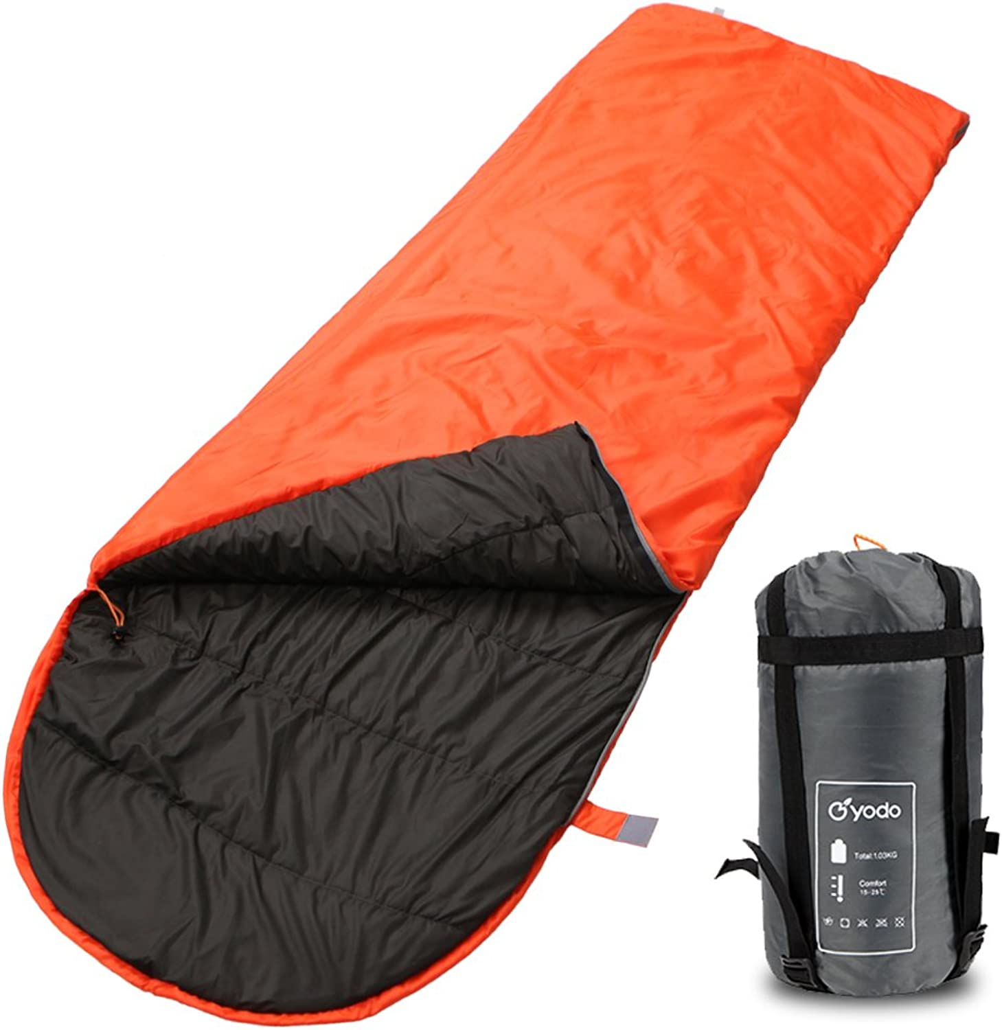 Yodo Compact Warm Weather Sleeping Bag for Outdoor Camping Hiking Backpacking Travel with Compression Sack for Women and Men,6080 Degree F