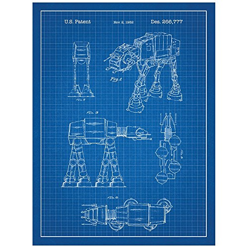 Inked and Screened Star Wars at-at Design Patent Art Poster Silk Screen Print, 18' W x 24' L, Blue