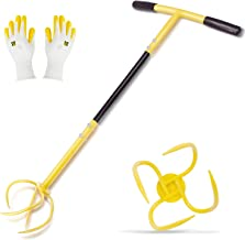 Hortem Twist Tiller Removable, Hand Garden Claw Cultivator with Durable Steel Shaft Tines and Comfortable Handle 76cm Long