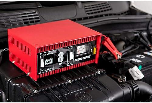 Absaar 77911 Chargeur pour batterie fonctionnant aussi pour les batteries moto 6/12 V, 8 Ah