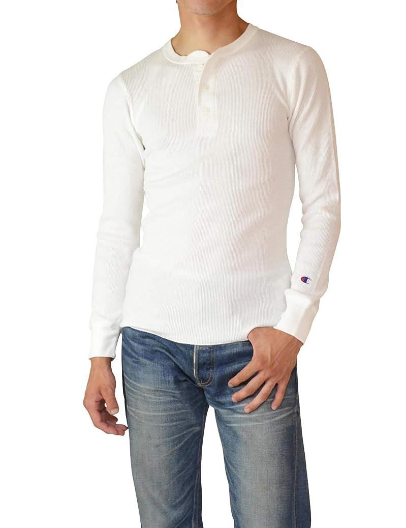 アスリート日記神秘的なChampion Henley Neck Long Sleeve Thermal ヘンリーネック サーマル 長袖 Tシャツ ワッフル 無地 Cロゴ C3-E430