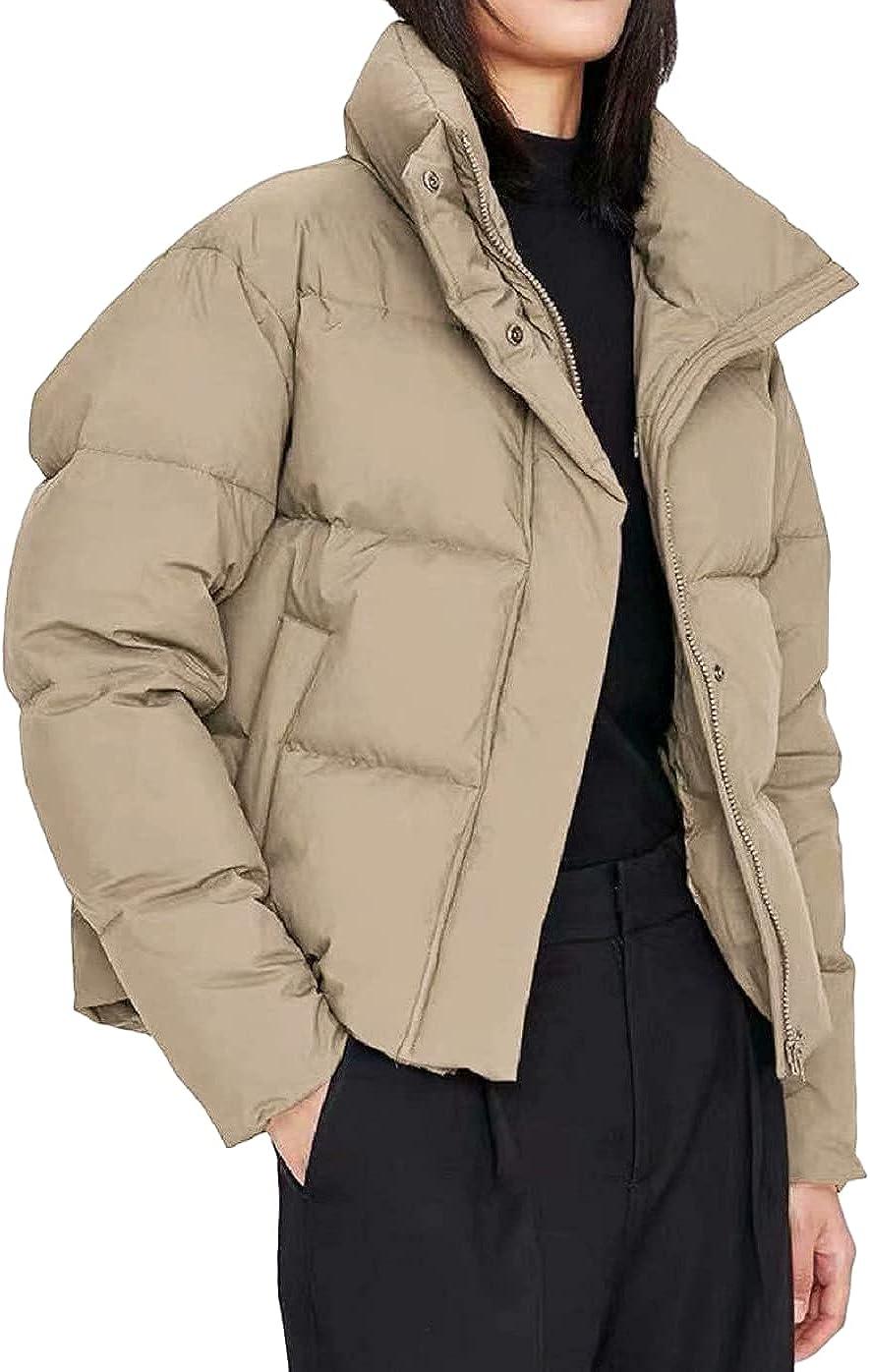Chartou Women's Puffer Band Collar Chevron Quilted Warm Short Coat Tops