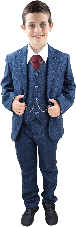 Mens 3 Piece Navy Blue Suit Tweed Check Blinders Tailored Fit Vintage