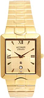 Casual Watch for Men by Accurate, Gold, Square, AMQ1634
