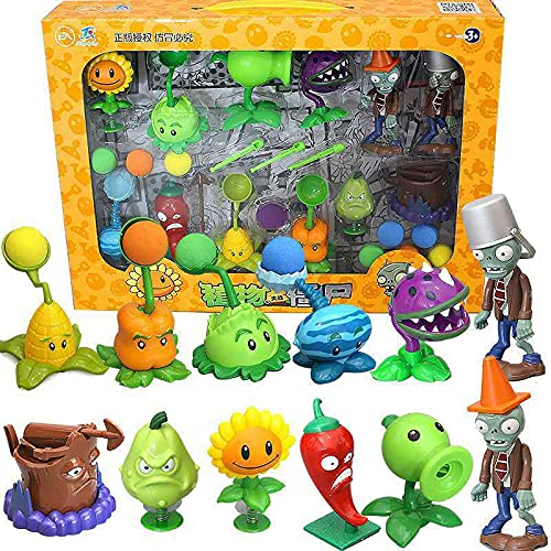 Plants Vs Zombie Figura Juguetes para niños PVC Peashooter Pea Shooter 2 Juego Completo Silicona Suave Figura de Anime Juguete Niños Juguete de cumpleaños Regalos