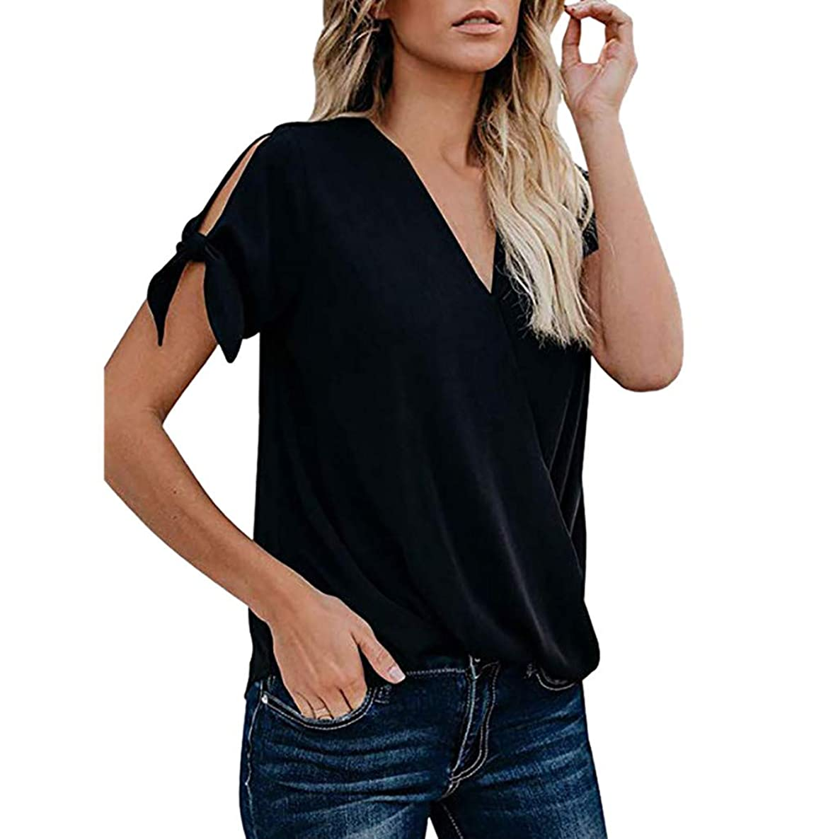 Womens Tops HYGCGH7Y Women's Casual Short Sleeve Hollowing out V-Neck Solid Blouse Tops With Bow