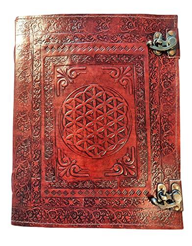 Kooly Zen – Cuaderno de diario, libro, álbumes, libro de invitados, cuaderno de dibujo o de bocetos, scrapbook, piel auténtica, doble cierre, flor de la vida, 25 x 33 cm, papel premium