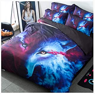Bedding Duvet Cover Set Bedding Set Duvet Cover with Pillowcase Soft Duvet Protector Wild Animals Pattern 3 Styles No Fading (Color : A, Size : 173x218cm)