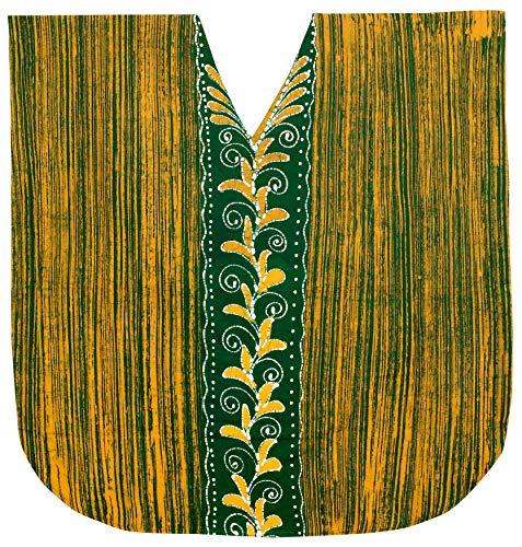LA LEELA Mujer Kaftan Algodón Túnico Batik Kimono Estilo Más tamaño Vestido para Loungewear Vacaciones Ropa de Dormir & Cada día Cubrir para Arriba Tops Camisolas Playa Verde_I130