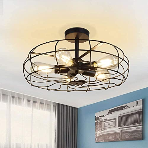 lowest Depuley 5-Light Vintage Industrial Ceiling Light, 19 Inch Retro Semi Flush Mount Chandelier, Hanging Lights with Metal new arrival Oil Bronze Cage, Pendant Close to Ceiling Lighting Fixture online sale for Kitchen Farmhouse sale