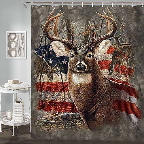JAWO Duschvorhang, Motiv: Hirsch, patriotischer Reh, Retro, amerikanische Flagge, Polyester-Stoff, Badvorhang mit 12 Haken, rustikaler Badezimmer-Vorhang, 170 x 200 cm