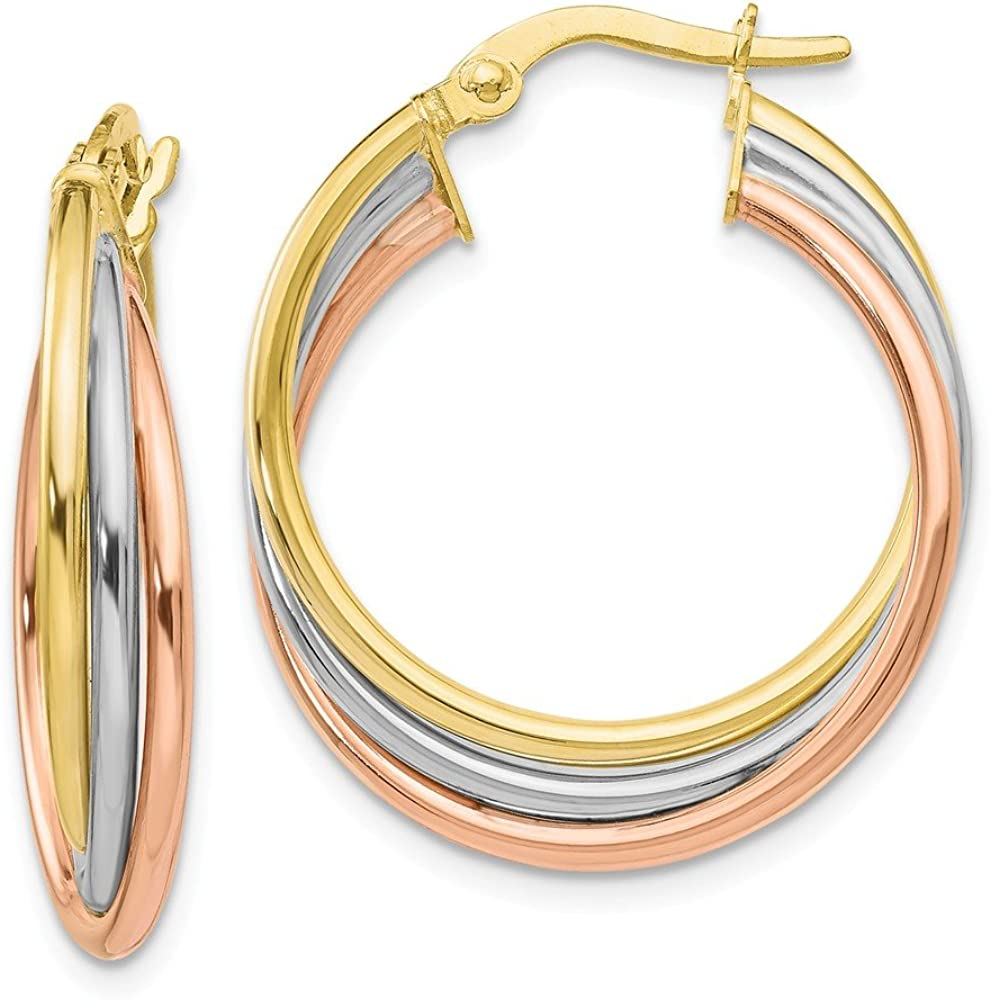 Solid 10k Gold Tri-color Polished and Textured Twisted Hoop Earrings (18mm x 41.3mm)