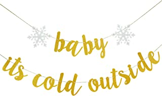 LeeSky Gold Glittery Baby Its Cold Outside Banner - Christmas Snowflake Winter Holiday Home Decor Garland Party Decoration Supplies