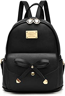Girls Bowknot Cute Leather Backpack Mini Backpack Purse for Women
