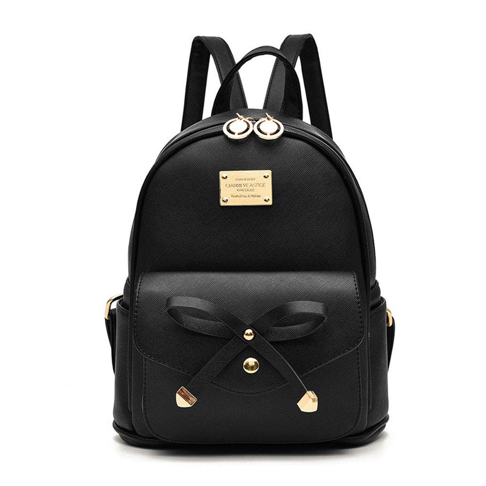 Girls Bowknot Leather Backpack Purse