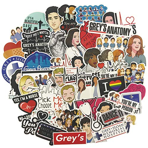 Grey's Anatomy Laptop Stickers 50pcs, TV Trendy Vinyl Computer Waterproof Water Bottles Skateboard Luggage Decal Graffiti Patches Decal