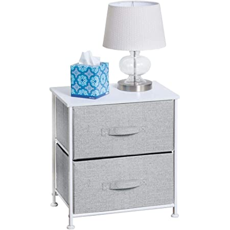 2 Drawers Bedside Table Night Stand Storage Unit Cabinet Bedroom Fabric Drawer