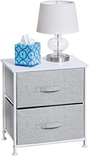 mDesign Night Stand/End Table Storage Tower - Sturdy Steel Frame, Wood Top, Easy Pull Fabric Bins - Organizer Unit for Bedroom, Hallway, Entryway, Closets - Textured Print - 2 Drawers - Gray/White