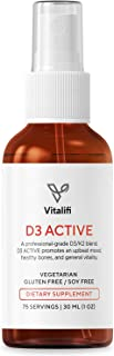 Vitalifi Vitamin D3 Active with Vitamin K2 MK7 (MenaQ7) - Clinically Proven Dosages to Support Healthy Brain, Cardiovascular Health, Balanced Inflammatory Response & Superior Calcium Absorption