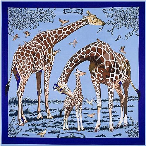 YDMZMS 130x130 cm Impressionist Style 100% zijden sjaal dames sjaal giraffe schilderij halsdoek bandana groot vierkant hoofddoek