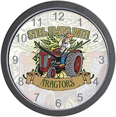 CafePress - Still Plays with Red Tractors Wall Clock - Unique Decorative 10