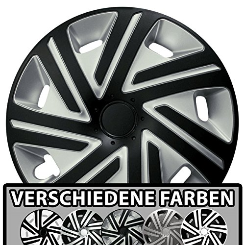 (Größe und Farbe wählbar) Radzierblenden 16 Zoll – CYRKON (Silber-Schwarz) passend für fast alle Fahrzeugtypen (universell)!