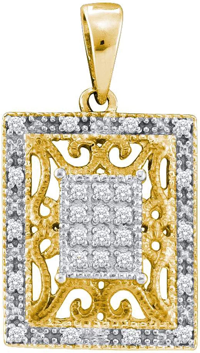 Yellowtone Sterling Silver Womens Round Diamond Filigree Square Frame Cluster Pendant 1 8 Cttw