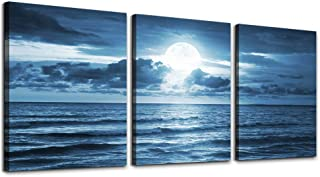 3 Piece Canvas Wall Art Living Room - Blue sea View The Moon Landscape - Modern Home Decor Room Stretched Framed Ready to Hang - 12