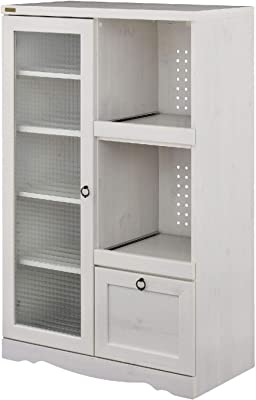 佐藤産業 Bistro レンジ台 食器棚 幅75.5cm 奥行39.5cm 高さ120cm ホワイト スライド棚 コンセント付き 可動棚 BTC120-75G WH