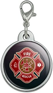 Graphics and More Firefighter Fire Rescue Maltese Cross Chrome Plated Metal Pet Dog Cat ID Tag