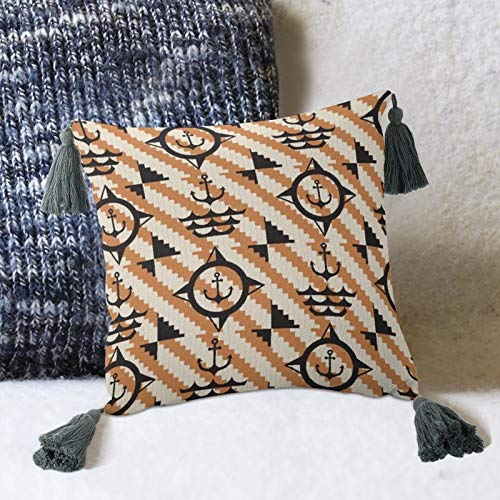 by Unbranded Cojín decorativo con borlas y almohada de lino de algodón para sofá, dormitorio, salón, decoración cuadrada de 10 pulgadas