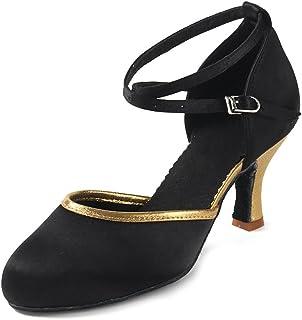 Mujeres&Niña Zapatos latinos de baile Zapatillas de baile de salón Salsa Performance Calzado de Danza,Modelo ESWXCL