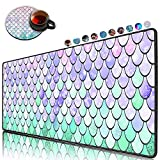 Extended Gaming Mouse Pad and Coaster,Large Non-Slip Rubber Base Mousepad with Stitched Edges, Waterproof Mouse Mat Desk Pad for Work,Office,Home -Fish Scale Lilac Purple Pink Aqua Teal Glare Ocean