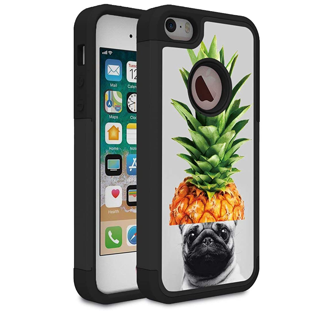 iPhone 5S Case,iPhone SE Case,Rossy Heavy Duty Hybrid TPU Plastic Dual Layer Armor Defender Protection Case Cover for Apple iPhone 5S/SE/5,Pineapple Hat Pug Pet Dog Funny