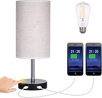 Touch Control Bedside Table Lamp Dimmable with 2 USB Charging Port,Tomshin-e Modern Nightstand Desk Lamp Fabric Shade for Bedroom,Living Room,Office,Study Room,Lounge,LED Bulb Included