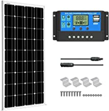 SUNGOLDPOWER 100 Watt 12V Monocrystalline Solar Panel Solar Module Kit:1pcs 100W Mono Solar Panel Solar Cell Grade A +20A LCD PWM Charge Controller Solar+MC4 Extension Cables+Set of Z-Brackets