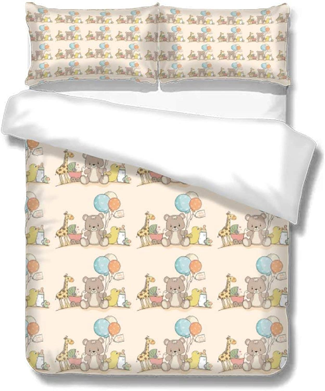 Home Bedding Duvet Cover Set Bed Sheets Set Set of Three On The Bed Bear Toy Balloon Baby Carriage Baby Bottle Newborn Soft Comfortable Breathable Twin Size